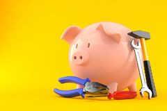Piggy bank with work tools. On orange background Royalty Free Stock Image