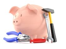 Piggy bank with work tools. Isolated on white background. 3d illustration Stock Image