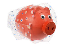 Piggy Bank with Wrapping Paper Stock Photos
