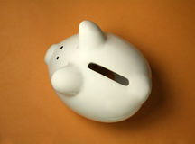 Piggy Bank on Yellow. Piggy Bank: View is From the Top Down Stock Photography