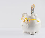 Piggy bank with yellow glasses and three 50 dollar bills Royalty Free Stock Photo