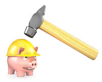Piggy bank in yellow helmet under large hammer Stock Photography