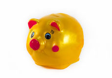Piggy Bank. Yellow Piggy Bank isolate on  white background Stock Photo