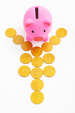 Piggy bank and yen sign. Pink piggy bank and yen sign made from gold coins over white background Royalty Free Stock Photography