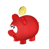 Piggy bank with yuan coin i isolated over white Royalty Free Stock Photos