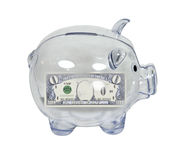 Piggy Bank with Zero Savings Stock Photos