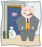 Piggy Banker. Fat banker piggy enjoying his riches Stock Photos