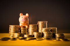 A piggy bank on money stack for saving money concept, Space of business planning ideas, insurance life in future. stock photos