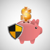 Piggy banking safe shield protection Royalty Free Stock Image