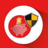 Piggy banking safe shield protection Stock Images