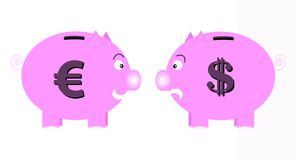 Piggy banks. Illustration of euro and dollar piggy banks Stock Photo
