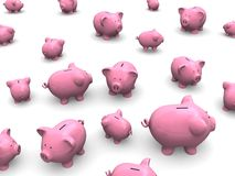 Piggy banks. 3d rendered illustration of many pink piggy banks Stock Photos