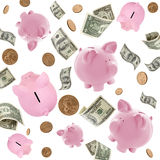 Piggy Banks and American Money Flying over White. Background Stock Image