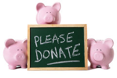 Donation box message piggy bank charity fund isolated Royalty Free Stock Image