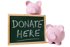 Piggy bank charity fund donation box message Royalty Free Stock Photo