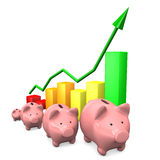 Piggy Banks Chart Stock Photography