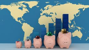 Piggy banks with colorful chart on map Royalty Free Stock Photo