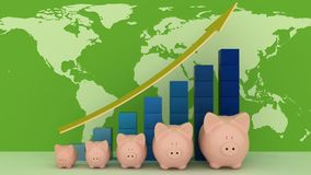 Piggy banks with colorful chart on map Stock Image