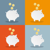 Piggy Banks Currency Flat Stock Photo