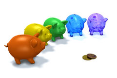 Piggy Banks. 3d render of five colored piggy banks in competition for two gold coins against a white background Royalty Free Stock Images