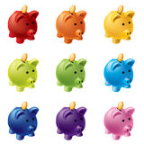 Piggy banks in different colours Stock Photo