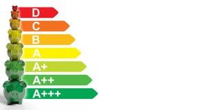 Piggy banks - energy efficiency concept. 3d illustration. Piggy banks on white background - energy efficiency concept. 3d illustration Stock Image