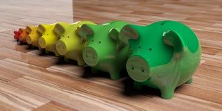 Piggy banks - energy efficiency concept. 3d illustration. Piggy banks on wooden background - energy efficiency concept. 3d illustration Royalty Free Stock Images