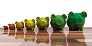 Piggy banks - energy efficiency concept. 3d illustration. Piggy banks on wooden floor - energy efficiency concept. 3d illustration Royalty Free Stock Photo