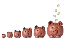 Piggy Banks with Falling Coins Stock Image