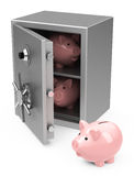 Piggy banks inside a safe Stock Photos
