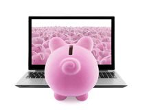 Piggy banks and laptop Royalty Free Stock Photography
