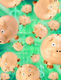 Piggy Banks Money Budget. Many piggy banks in free fall on a green money background royalty free stock image