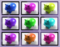 Piggy Banks On Monitors Showing Savings Royalty Free Stock Photos