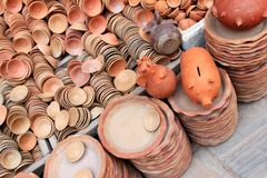 Piggy Banks and other potteries Royalty Free Stock Photography