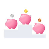 Piggy banks on pedestal Royalty Free Stock Images