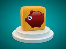 Piggy banks on podium. With green background,,illustration Royalty Free Stock Images