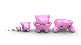 Piggy banks replace the Russian dolls. Saving money concept Royalty Free Stock Photography