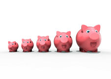 Piggy banks row Royalty Free Stock Photos