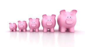 Piggy Banks Rows Chart Royalty Free Stock Photos