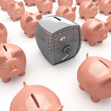 Piggy banks and safe. A background of pink piggy banks and a safe Royalty Free Stock Photography