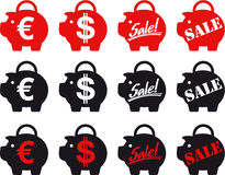 Piggy-banks sale. Piggy bank icons with different slogans Royalty Free Stock Photo