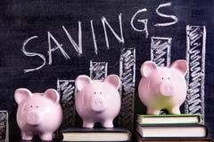 Piggybanks savings plan investment growth plan and chart Stock Photos