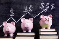 Piggybank savings retirement planning investment growth chart. Three pink piggy banks standing on books next to a blackboard with simple savings progress chart Royalty Free Stock Images