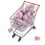 Piggy banks in shopping cart. Many pink piggy banks in a 3D shopping cart Stock Photo
