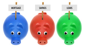 Piggy Banks with Sign Boards Royalty Free Stock Image