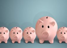 Piggy banks in a row, successful bank concept. Piggy banks, successful bank concept stock photos