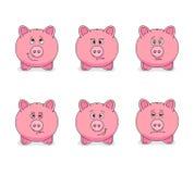 Piggy banks and various emotions Stock Photos