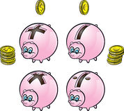 Piggy banks. Vector illustration of piggy banks with four arithmetical operations signs and euro-dollar coins Stock Photos