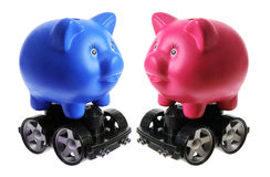 Piggy Banks with Wheels Stock Photography