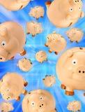 piggy besparingar för bakgrundsgrupp Arkivfoton